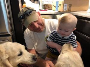 Deacon and Wyatt love baby Easton!